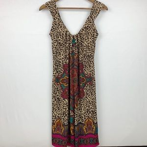 London Times Leopard Print V Neck Pattern Dress